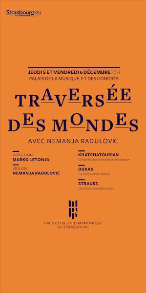 Orchestre philharmonique de Strasbourg OPS Saison 2019-2020 Traversée des mondes mit Nemanja Radulović szenik